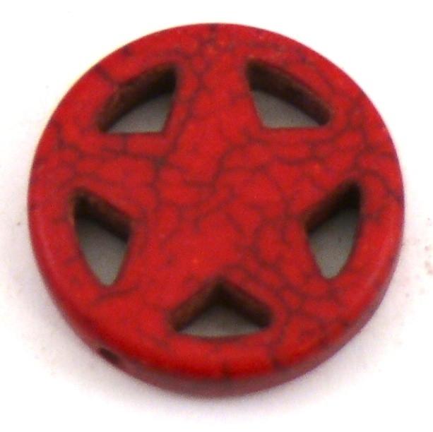 BJ325 keramiek kraal rond 20mm sherrifstar kleur bordeaux rood