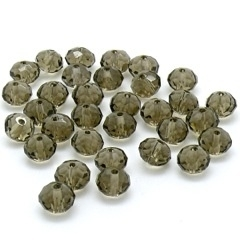glaskraal rondel facetgeslepen 6x8mm kleur black diamond / grijs (BJGR015) - 10 stuks