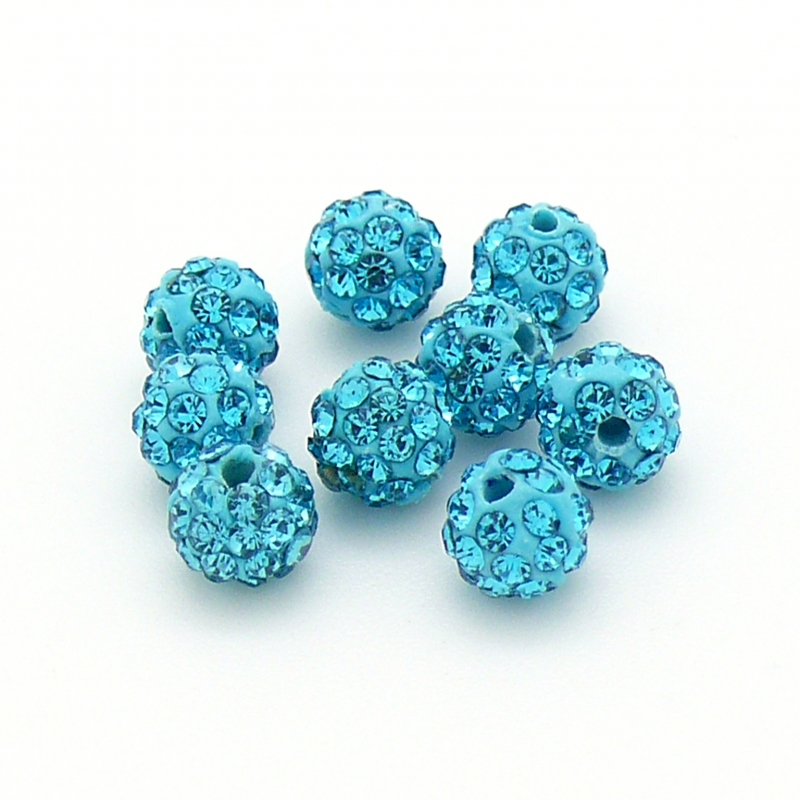 origine shamballa kralen 6mm rond gat 1mm kleur aquamarine (SH-06-06)