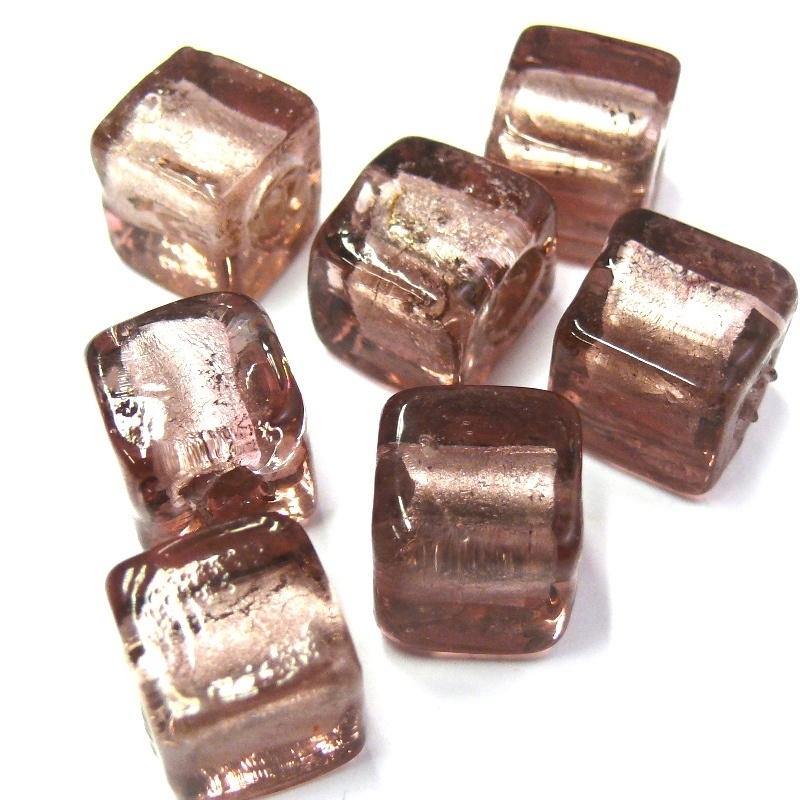 glaskraal paars silverfoil vierkant 12mm (BJP030) - 2 stuks