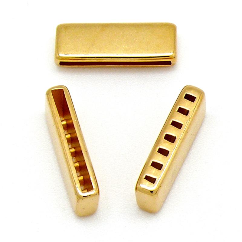 DQ metaal GOUD eindkap met 7 gaten voor 20mm breed leer maat 22 gat 2x20mm (B06-040-SG)