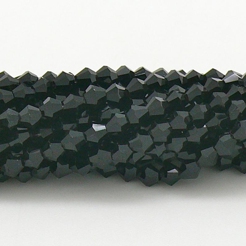 glaskraal bicone 4mm - circa 110  kralen (BGK-008-004) kleur Jet