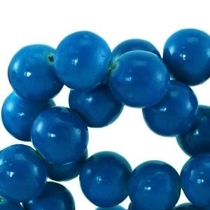 houten kraal 6mm fluor blauw (BK9295) 25 stuks