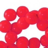houten kraal 8mm fluor rood (BK9284) 15 stuks