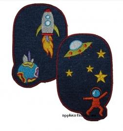 kniestukken ruimtevaart spijkerstof (2 stuks) opstrijkbaar
