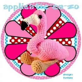 SUPER full color strijkapplicatie flamingo