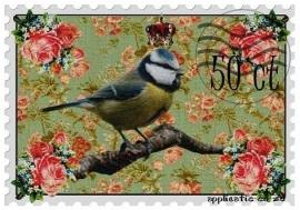 SUPER full color strijkapplicatie postzegel pimpelmees