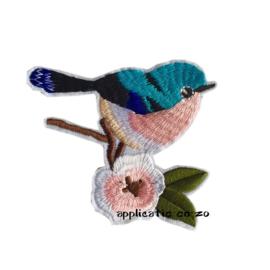 strijkapplicatie vogeltje op tak blauw/ zacht roze