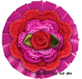 WHAZZ full color strijkbutton fuchsia/ rood