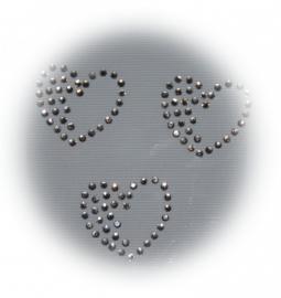 Rhinestone strijkapplicaties hartjes (3st)