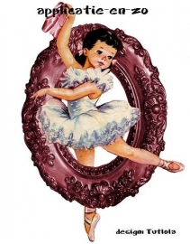 SUPER full color strijkapplicatie vintage ballerina