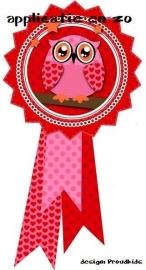 PK full color strijkapplicatie roze button uil