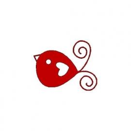veloursmotief rood vogeltje met hart