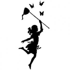 veloursmotief van een `vlindermeisje`