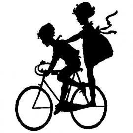 veloursmotief jongetje en meisje op de fiets