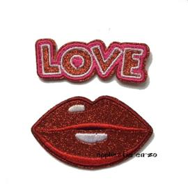 strijkapplicatie love lips glitter