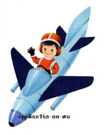 SUPER full color strijkapplicatie vintage jongetje in blauw vliegtuig