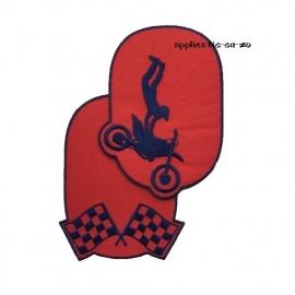 kniestukken motorcross rood (2 stuks) opstrijkbaar