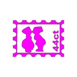 veloursmotief postzegel met zoenend setje fuchsia