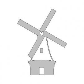 veloursmotief witte Hollandse molen