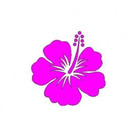 veloursmotief hibiscus donker (fuchsia) roze