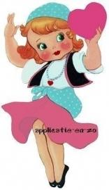 SUPER full color applicatie vintage meisje met hart