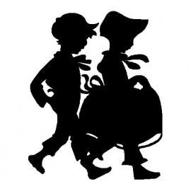 veloursmotief silhouette jongetje en meisje