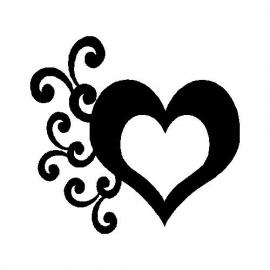 veloursmotief swirl hart zwart