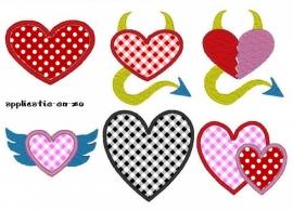 serie van 6 hartjes patronen