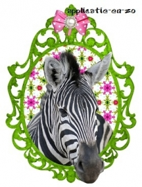 SUPER full color strijkapplicatie zebra groen