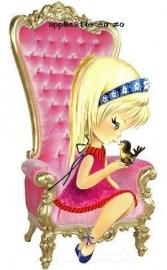 SUPER full color strijkapplicatie vintage meisje in roze stoel