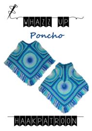 WHAZZ UP haakpakket kinderpocho (met capuchon) blauw/ groen