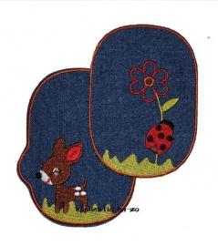 kniestukken hertje en lieveheersbeest spijkerstof (2 stuks) opstrijkbaar