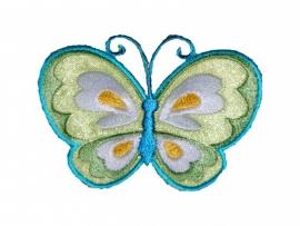 strijkapplicatie vlinder groen/ blauw