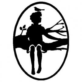 veloursmotief silhouette jongen op tak