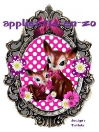 SUPER full color applicatie 2 hertjes in zilveren frame