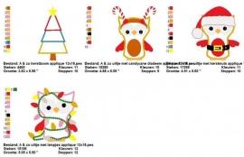 serie van 4 applicatiepatronen van kerst uilen