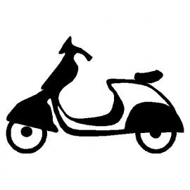 veloursmotief scooter zwart