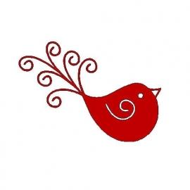 veloursmotief rood vogeltje met spiraal
