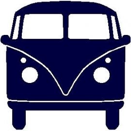 veloursmotief donker blauwe VW bus