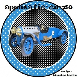 SUPER full color applicatie nostalgische auto blauw