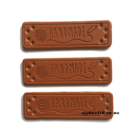 labels kunstleer handmade met knoopje (3st)