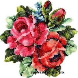 SUPER full color strijkapplicatie kruissteek bloemen