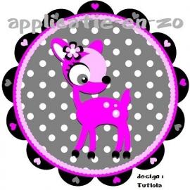 SUPER full color strijkapplicatie pink deer