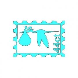 veloursmotief postzegel met ooievaar blauw