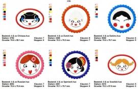 serie van 6 buttons `around the world`