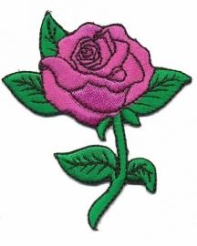 strijkapplicatie roos op steel roze