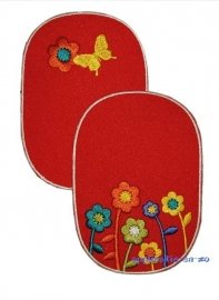 kniestukken vlinder en bloemen rood (2 stuks) opstrijkbaar