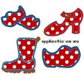 serie van 4 schoen patronen