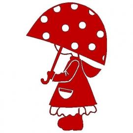 veloursmotief Jill met paraplu